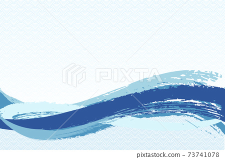 Illustration material Background Japanese style Japanese pattern Simple brush Calligraphy Qinghai wave pattern Wave summer sea 73741078