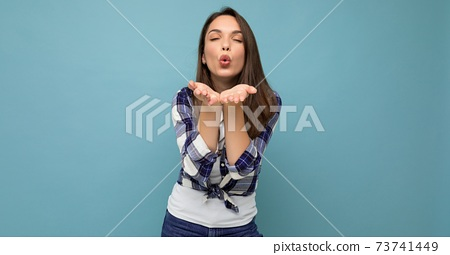 Panoramic portrait of young positive happy beautiful winsom brunette woman with sincere emotions 73741449