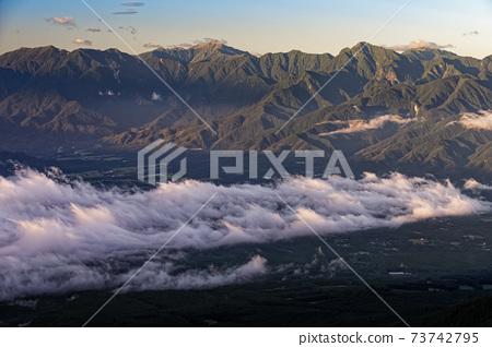 타케 연봉 · 전 三쯔頭에서 보는 아침의 남 알프스 산맥 73742795