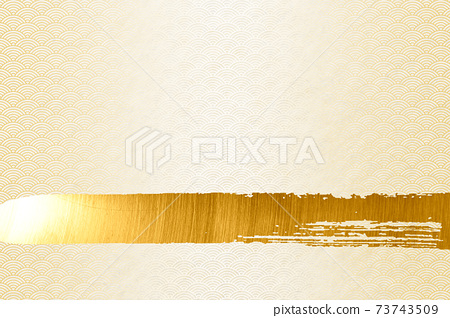 Illustration material background Japanese style Japanese paper brush calligraphy wave Qinghai wave pattern golden simple 73743509