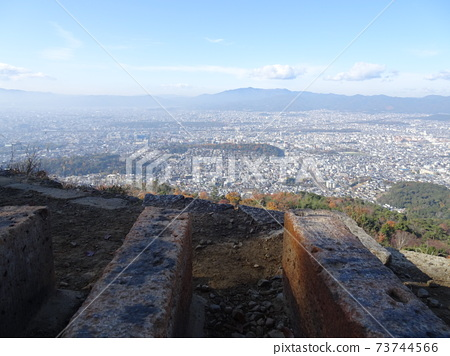 A view of the city of Kyoto with a haze near the fire floor of Mt. 73744566