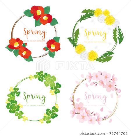 春天的花花環插圖素材集 73744702