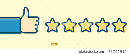 customer evaluating concept with five star good rating feedback. clients satisfaction and positive review experience with stars and thumb up hand vector illustration 73745912