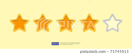Five stars customer product rating concept for evaluating, clients satisfaction and positive experience. good feedback review icon vector illustration 73745913