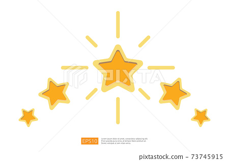 Five stars customer product rating concept for evaluating, clients satisfaction and positive experience. good feedback review icon vector illustration 73745915