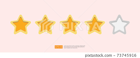 Five stars customer product rating concept for evaluating, clients satisfaction and positive experience. good feedback review icon vector illustration 73745916
