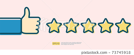 customer evaluating concept with five star good rating feedback. clients satisfaction and positive review experience with stars and thumb up hand vector illustration 73745918