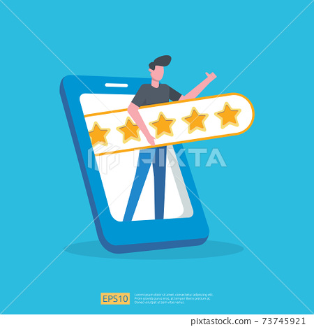 customer evaluating concept with five star good rating feedback. clients satisfaction and positive review experience with stars and flat man vector illustration 73745921