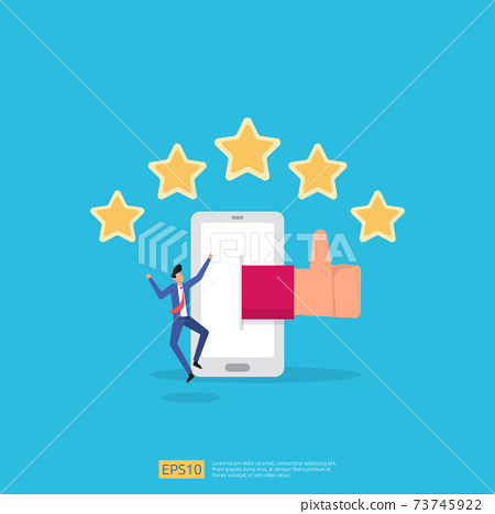 customer evaluating concept with five star good rating feedback. clients satisfaction and positive review experience with stars and flat man vector illustration 73745922