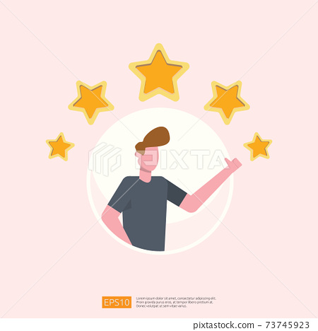 customer evaluating concept with five star good rating feedback. clients satisfaction and positive review experience with stars and flat man vector illustration 73745923