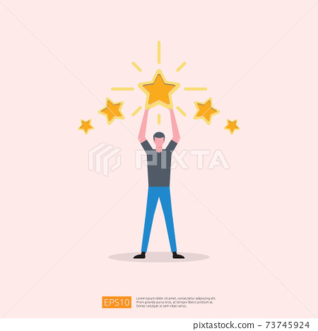 customer evaluating concept with five star good rating feedback. clients satisfaction and positive review experience with stars and flat man vector illustration 73745924