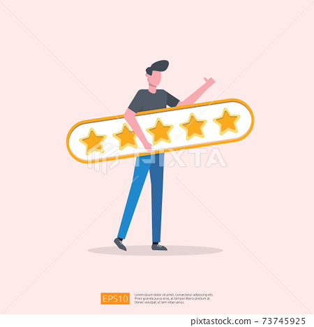 customer evaluating concept with five star good rating feedback. clients satisfaction and positive review experience with stars and flat man vector illustration 73745925