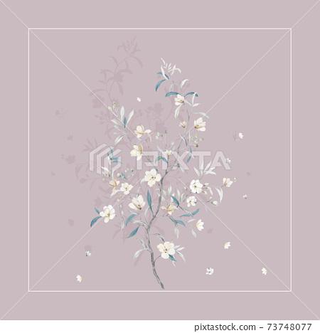 色彩豐富的花卉素材和設計元素 73748077