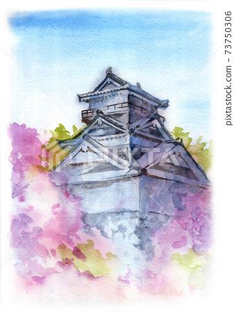 城堡和櫻花的山水畫 73750306