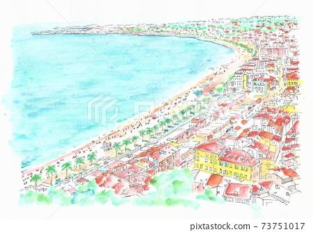 歐洲城市景觀,在意大利索倫託的濱海格蘭德 73751017