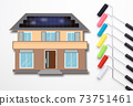 Image of painting the outer wall of your own home Image of painting work Image of choosing paint color 73751461