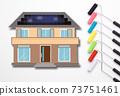 繪畫自己房屋的外牆的圖像繪畫作品的圖像選擇油漆顏色的圖像 73751461