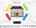 繪畫自己房屋的外牆的圖像繪畫作品的圖像選擇油漆顏色的圖像 73751466