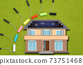 Image of painting the outer wall of your own home Image of painting work Image of choosing paint color 73751468