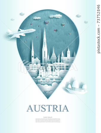 Vector illustration pin point symbol. Travel Austria architecture monument pin 73752846