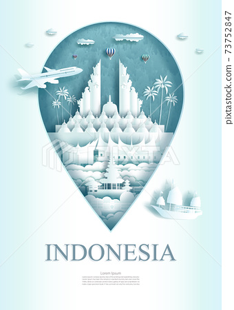 Travel Indonesia architecture monument pin in Asia with ancient. 73752847