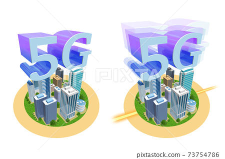 5G illustration of the world changing with high-speed and large-capacity networks (variations available) 73754786