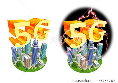 5G illustration of the world changing with high-speed and large-capacity networks (variations available) 73754787