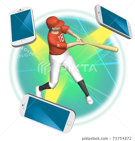 5G illustration of the world of watching sports that changes with a high-speed and large-capacity network (variations available) 73754872