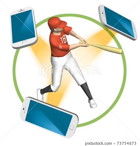 5G illustration of the world of watching sports that changes with a high-speed and large-capacity network (variations available) 73754873
