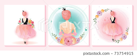 8 March, International Women's Day. The watercolor cute girl has drawn. A horizontal format design ideal for a web banner or greeting card.Vector illustration 73754915