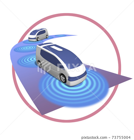 Illustration of the world of autonomous driving that changes with 5G high-speed and large-capacity networks (variations available) 73755004