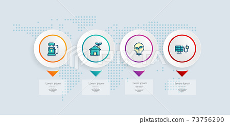 abstract horizontal timeline infographics 4 steps with world map for business and presentation 73756290