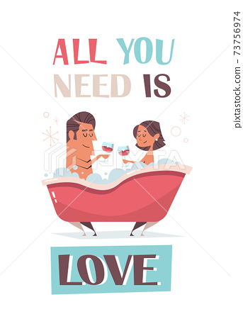 couple in love enjoying bath girlfriend and boyfriend having fun valentines day celebration concept greeting card 73756974