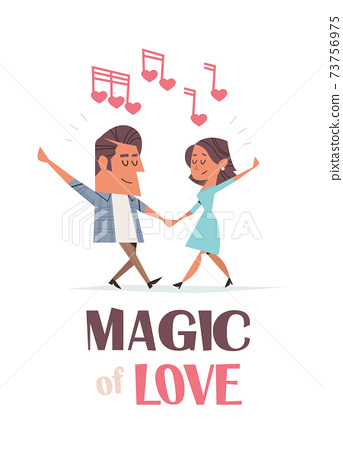 couple in love dancing girlfriend and boyfriend having fun valentines day celebration concept greeting card 73756975