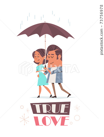 couple in love walking together under umbrella valentines day celebration concept greeting card 73756978