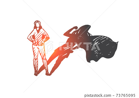 Superwoman, self-esteem, businessman, potential concept. Hand drawn isolated vector. 73765095