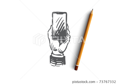 Mobile, payment, banking, digital, money concept. Hand drawn isolated vector. 73767332