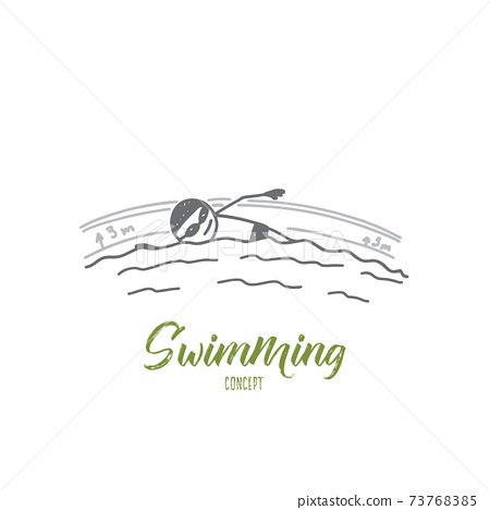 Swimming concept. Hand drawn isolated vector 73768385