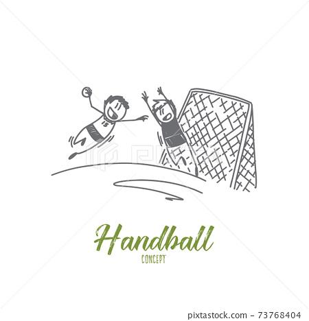 Handball concept. Hand drawn isolated vector 73768404