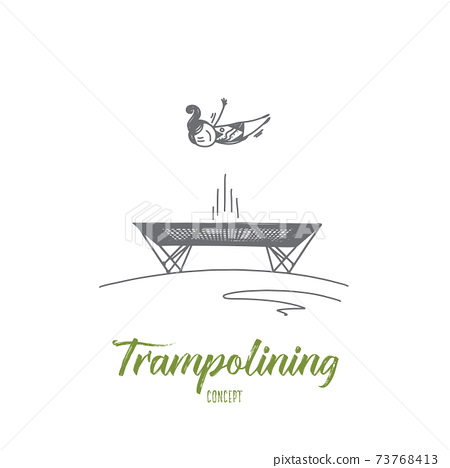Trampolining concept. Hand drawn isolated vector 73768413