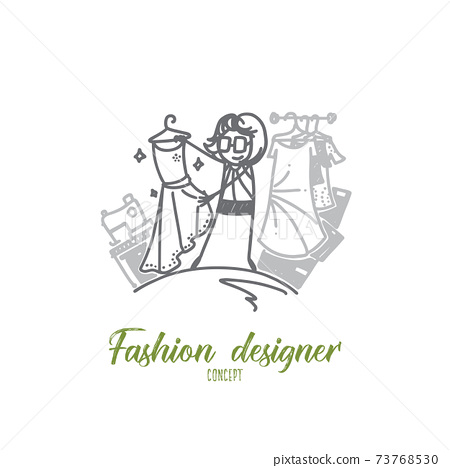 Fashion designer concept. Hand drawn isolated vector 73768530