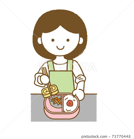 Illustration of a woman packing a lunch box 73770448