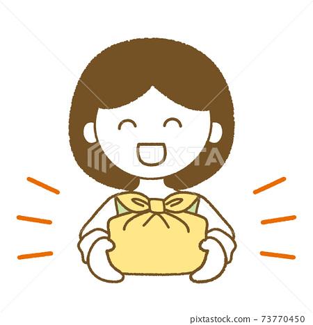 顯示午餐盒的女人的插圖 73770450