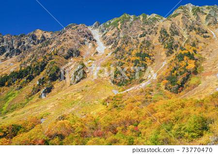 從長野神上看西穗高岳的秋葉 73770470