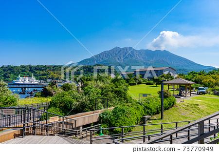 櫻島熔岩Na公園風景和櫻島 73770949