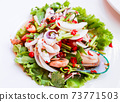 Close up Thai spicy and sour seafood salad 73771503