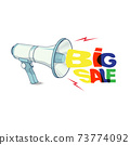 Vector illustration of Electric Megaphone Speaker.Line art. Shopping and sales background with big sale. 73774092