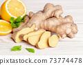 Ingredients for ginger herbal tea 73774478