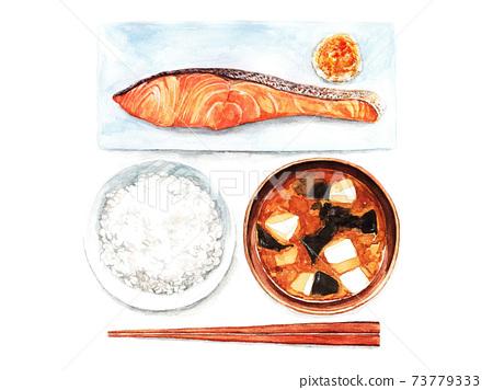 烤三文魚套餐(水彩插圖) 73779333