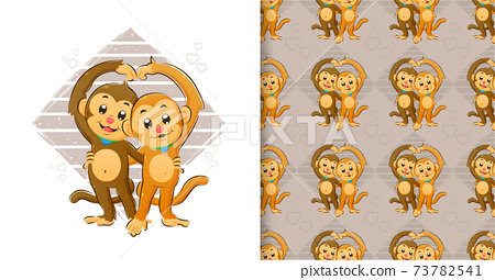 Hand drawn of the little monkeys standing and making a love sign with their hand in the pattern set 73782541